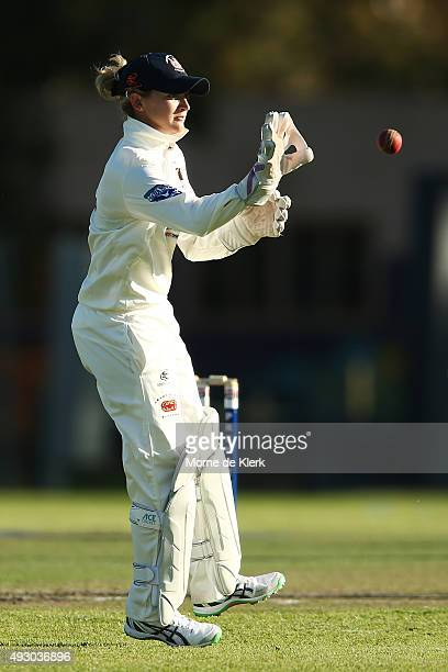 Sarah Taylor competes in the men's AGrade match between Northern Districts and Port Adelaide on October 17 2015 in Adelaide Australia Taylor makes...