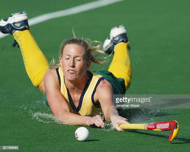 Sarah Taylor of Australia dives for the ball during the International Women's Test Series Hockey match betweeen Australia and India played at...