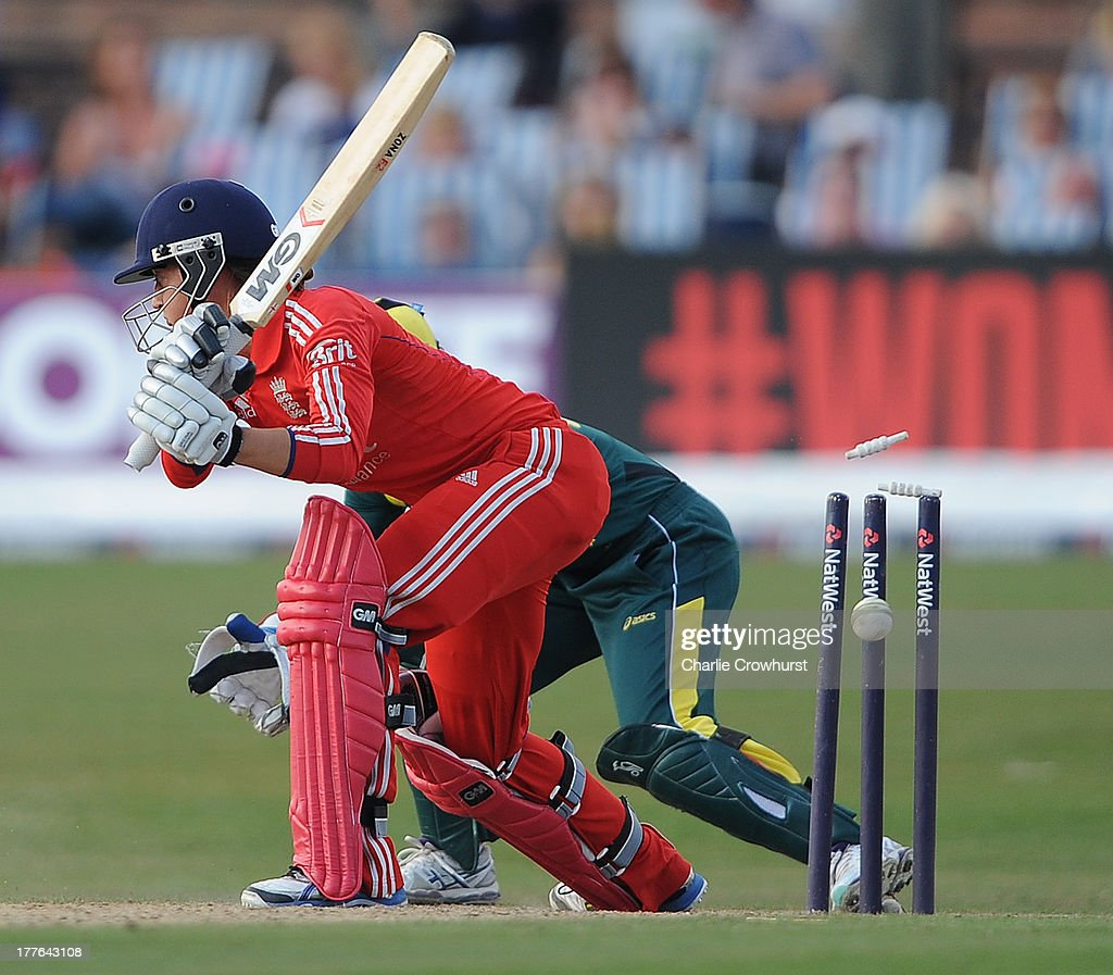 Sarah Taylor of England after she is bowled during the England Women and Australia Women Ashes Series - 3rd NatWest ODI at The BrightonandHoveJobs.com County Ground on August 25, 2013 in Hove, England.