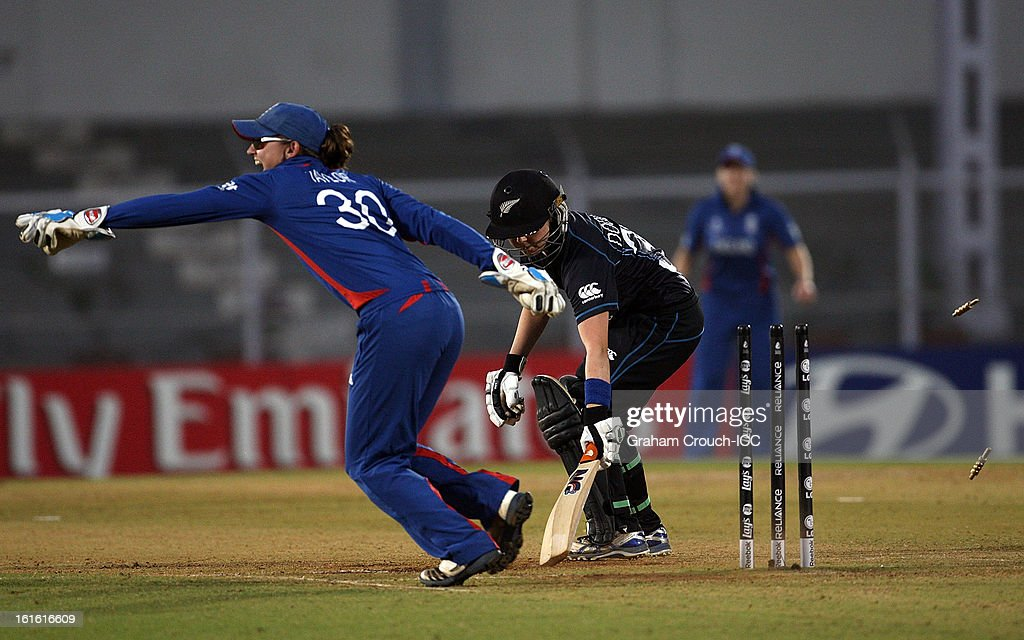 Sarah Taylor of England appeals after stumping Lucy Doolan of New Zealand during of the Super Sixes ICC Women's World Cup India 2013 match between New Zealand and England at the Cricket Club of India ground on February 13, 2013 in Mumbai, India.