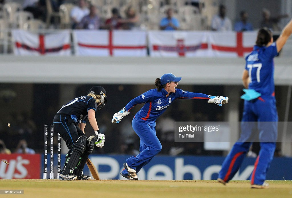 Sarah Taylor of England appeals successfully for the wicket of Lucy Doolan of New Zealand after getting her stumped out during the Super Sixes match between England and New Zealand held at the CCI (cricket club of India) on February 13, 2013 in Mumbai, India.