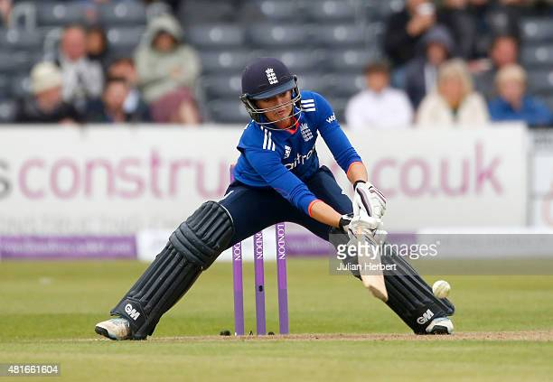 Sarah Taylor of England bats during the 2nd Royal London ODI of the Women's Ashes Series between England Women v Australia Women at The County Ground...