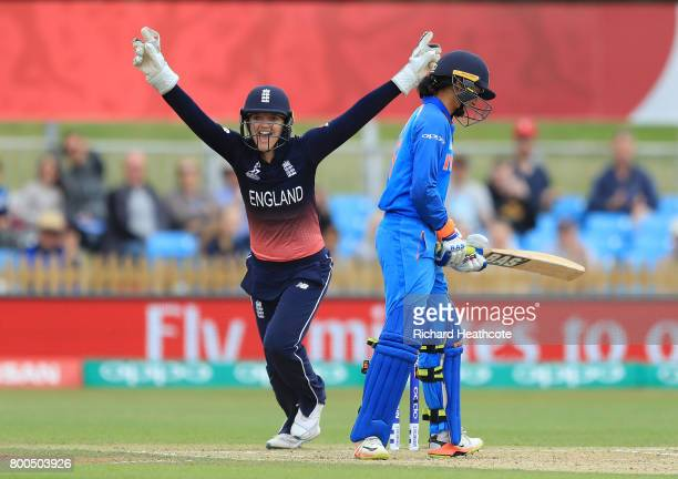 Sarah Taylor of England celebrates as Smriti Mandhana of India is caught out during the England v India group stage match at the ICC Women's World...
