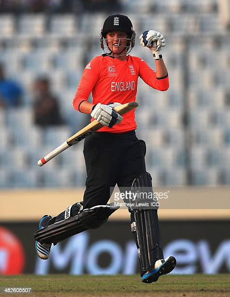 Sarah Taylor of England celebrates hitting the winning runs during the ICC World Twenty20 Bangladesh 2014 Womens Semi Final match between England...