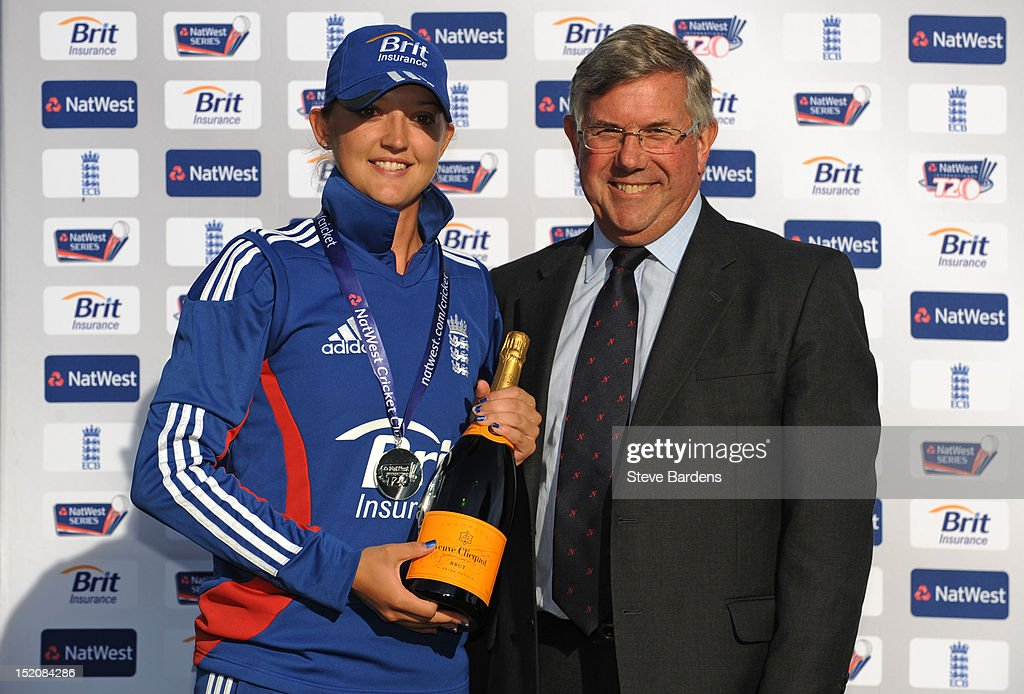 Sarah Taylor of England celebrates taking the NatWest player of the series award after the NatWest Women's International T20 Series match between England Women and West Indies Women at Arundel on September 16, 2012 in London, England.