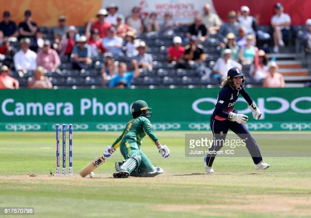 Sarah Taylor of England celebrates taking the wicket of Trisha Chetty of South Africa during The ICC Women's World Cup 2017 SemiFinal between England...