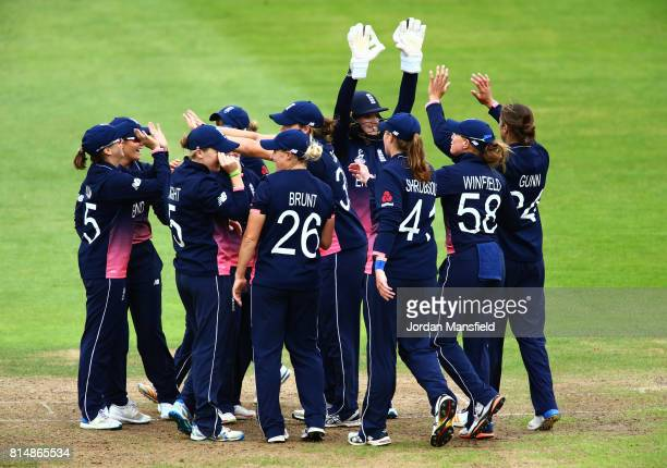 Sarah Taylor of England celebrates with her teammates after running out Kycia Knight of West Indies during the ICC Women's World Cup 2017 match...