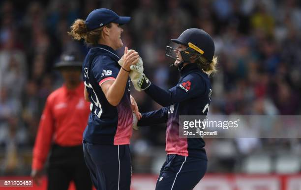 Sarah Taylor of England celebrates with teammate Natalie Sciver after the wicket of Mithali Raj of India during the ICC Women's World Cup 2017 Final...