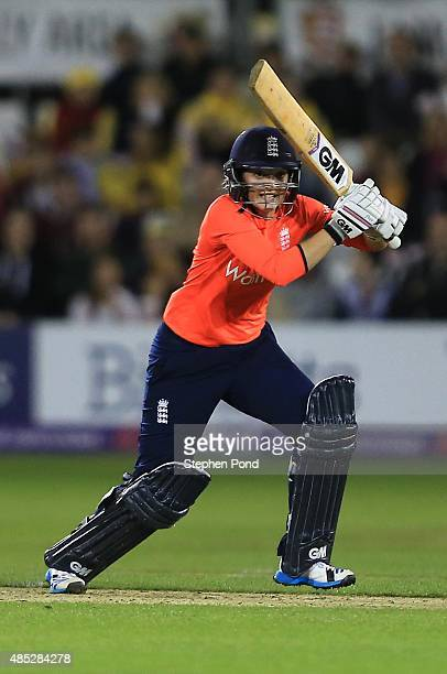 Sarah Taylor of England hits out during the first Natwest T20 match of the Women's Ashes Series between England Women and Australia Women at The...