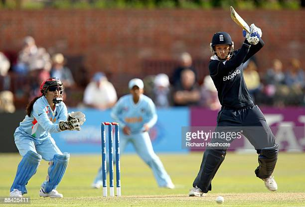 Sarah Taylor of England hits out during the ICC Women's Twenty20 World Cup match between India and England at The County Ground on June 11 2009 in...