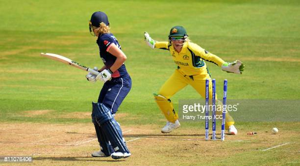 Sarah Taylor of England is bowled as Alyssa Healy of Australia celebrates during the ICC Women's World Cup 2017 match between England and Australia...