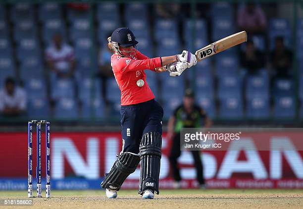 Sarah Taylor of England is struck during the Women's ICC World Twenty20 India 2016 Semi Final match between England and Australia at The Feroz Shah...