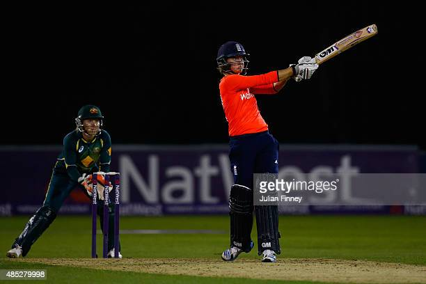 Sarah Taylor of England plays a shot during the 1st Natwest T20 of the Women's Ashes Series between England and Australia Women at The Essex County...