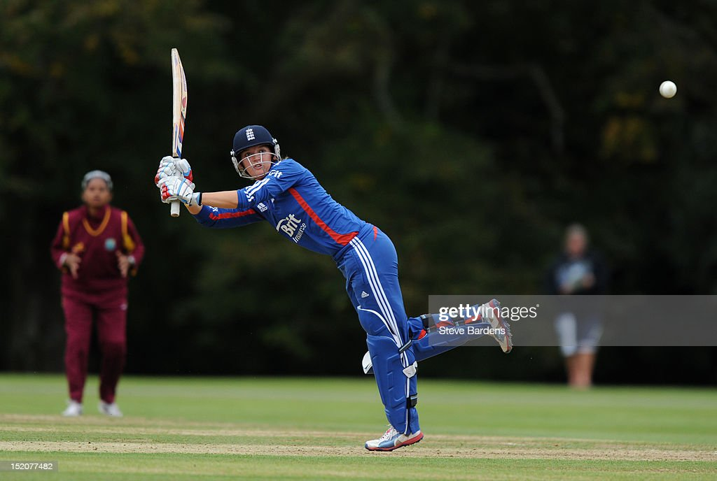 Sarah Taylor of England plays a shot during the NatWest Women's International T20 Series match between England Women and West Indies Women at Arundel on September 16, 2012 in London, England.