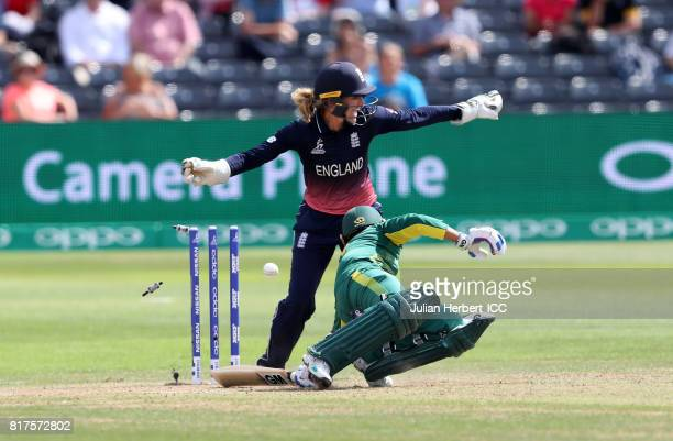 Sarah Taylor of England takes the wicket of Trisha Chetty of South Africa during The ICC Women's World Cup 2017 SemiFinal between England and South...