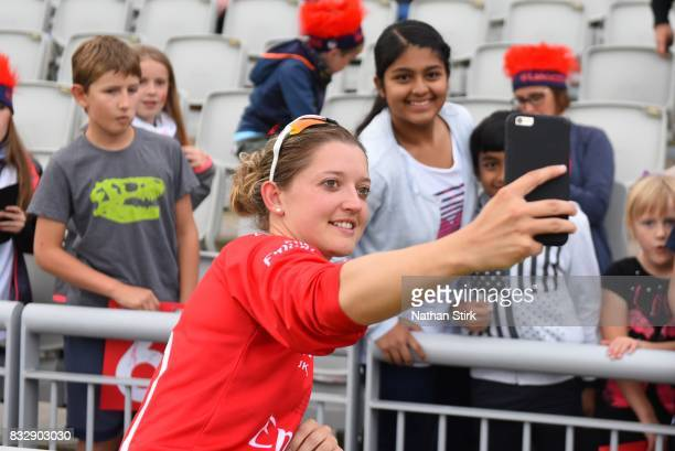 Sarah Taylor of Lancashire Thunder takes a selfie during the Kia Super League 2017 match between Lancashire Thunder and Surrey Stars at Old Trafford...
