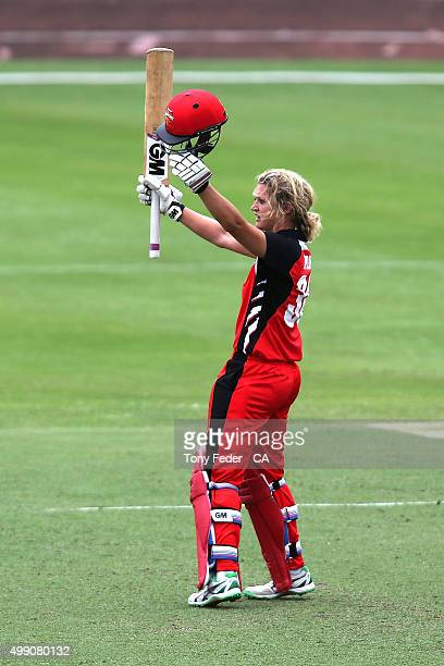 Sarah Taylor of the SA Scorpions celebrates after scoring 100 runs during the WNCL Final match between the New South Wales and South Australia at...