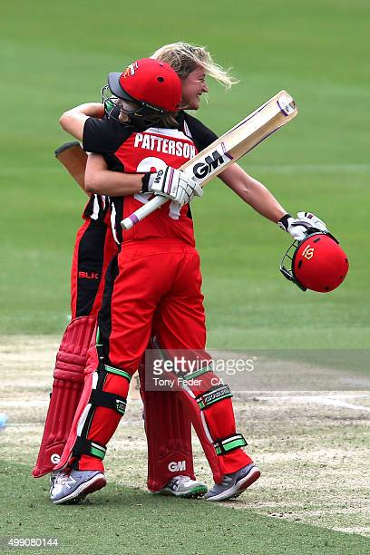 Sarah Taylor of the SA Scorpions celebrates with team mate Bridget Patterson after scoring 100 runs during the WNCL Final match between the New South...
