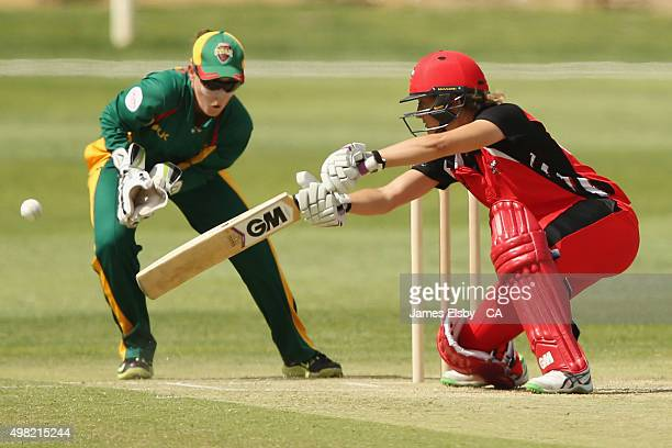 Sarah Taylor of the Scorpions plays a shot during the WNCL match between South Australia and Tasmania at Railways Oval on November 22 2015 in...