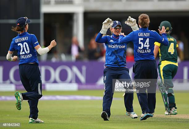Sarah Taylor the wicketkeeper of England celebrates catching Elyse Villani of Australia off the bowling of Rebecca Grundy during the 2nd Royal London...