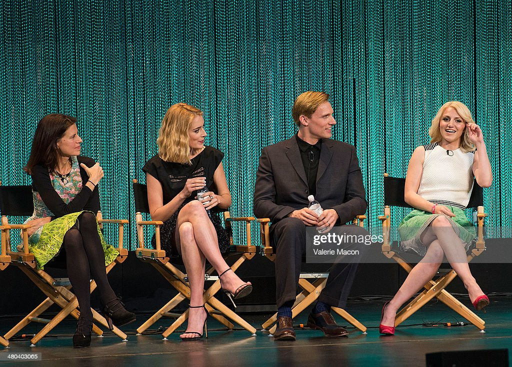 Sarah Timberman, <a gi-track='captionPersonalityLinkClicked' href=/galleries/search?phrase=Caitlin+Fitzgerald&family=editorial&specificpeople=6580444 ng-click='$event.stopPropagation()'>Caitlin Fitzgerald</a>, Teddy Sears and <a gi-track='captionPersonalityLinkClicked' href=/galleries/search?phrase=Annaleigh+Ashford&family=editorial&specificpeople=4268366 ng-click='$event.stopPropagation()'>Annaleigh Ashford</a> attend The Paley Center For Media's PaleyFest 2014 Honoring 'Masters Of Sex' at Dolby Theatre on March 24, 2014 in Hollywood, California.