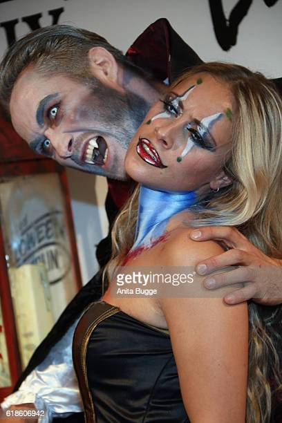 Sarah Tkotsch and guest attend the Halloween party by Natascha Ochsenknecht at Berlin Dungeon on October 27 2016 in Berlin Germany