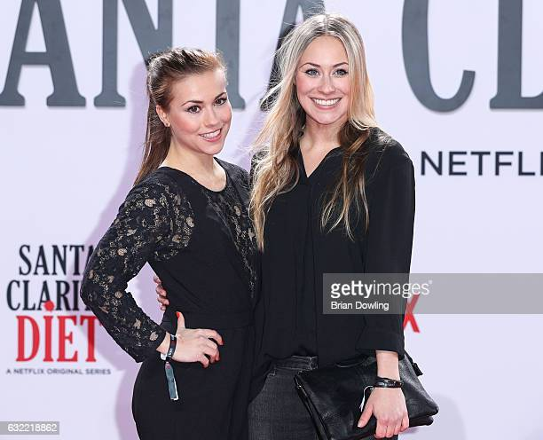 Sarah Tkotsch and Sina Tkotsch arrive at the premiere of Netflix's Santa Clarita Diet at CineStar on January 20 2017 in Berlin Germany