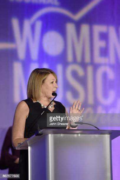 Sarah Trahern of CMA speaks onstage at the 2017 Nashville Business Journal Women In Music City on October 17 2017 in Nashville Tennessee