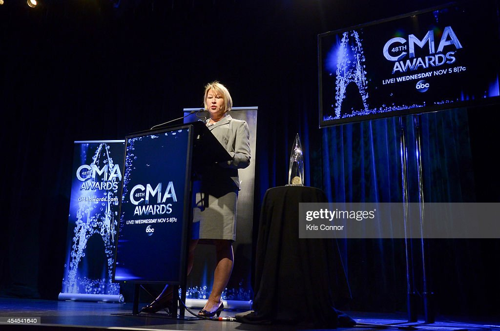 Sarah Trahern speaks during the 48th Annual CMA Awards Nominees Announcement at Best Buy Theater on September 3, 2014 in New York City.