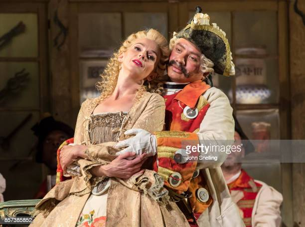 Sarah Tynan as Rosina and Eleazar Rodriguez as Count Almaviva perform on stage during a performance of Jonathan Millers classic production of 'The...