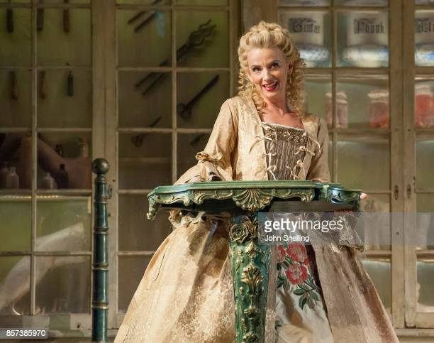 Sarah Tynan as Rosina performs on stage during a performance of Jonathan Millers classic production of 'The Barber of Seville' at London Coliseum on...