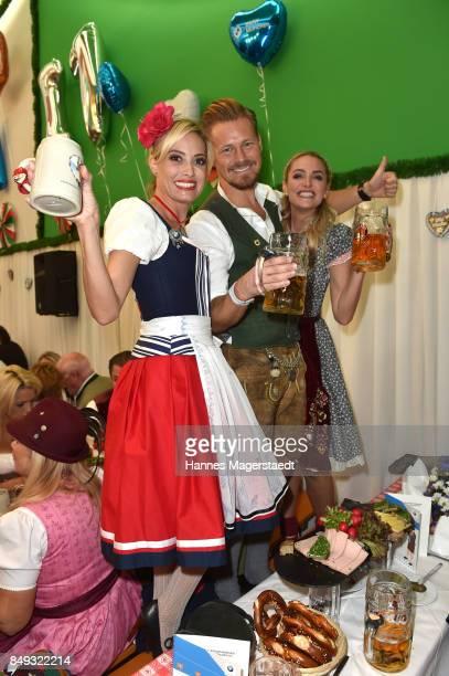 Sarah Valentina Winkhaus Gregor Teicher and Anna Katharina Kraft during the BMW Armbrustschiessen as part of the Oktoberfest 2017 at...