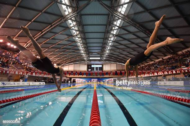 Sarah Vasey and Imogen Clark of Loughboro University compete in the Womens Open 50m Breaststroke final on day one of the British Swimming...
