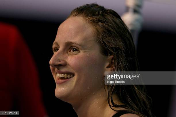 Sarah Vasey of Loughborough University reacts after winning the Womens Open 100m Breaststroke Final on day six of the 2017 British Swimming...