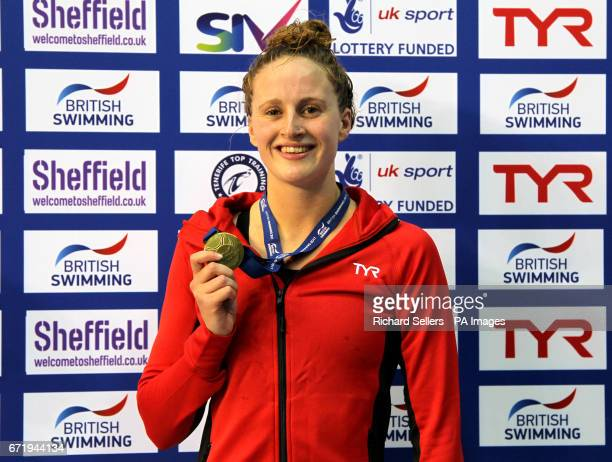 Sarah Vasey poses with her gold medal after winning the Women's 100 metres breaststroke during day six of the 2017 British Swimming Championships at...
