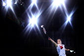 Sarah Walker of England in action against Jing Yi Tee of Malaysia in the women's singles during the Badminton Mixed Teams Gold Medal match at...