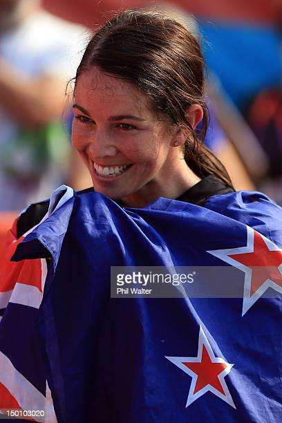 Sarah Walker of New Zealand celebrates winning the Silver medal in the Women's BMX Cycling Final on Day 14 of the London 2012 Olympic Games at the...
