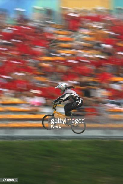 Sarah Walker of New Zealand competes during qualifying for the UCI BMX Supercross race at the Olympic BMX course on Aug 20 2007 in Beijing China The...
