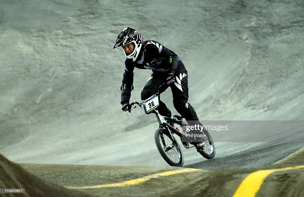 <a gi-track='captionPersonalityLinkClicked' href=/galleries/search?phrase=Sarah+Walker+-+Cyclist&family=editorial&specificpeople=4230643 ng-click='$event.stopPropagation()'>Sarah Walker</a> of New Zealand competes in the time trial during day four of the UCI BMX World Championships at Vector Arena on July 27, 2013 in Auckland, New Zealand.