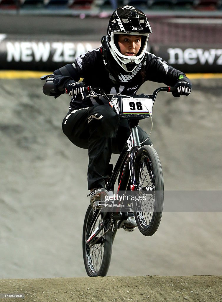 Sarah Walker of New Zealand competes in the time trial during day four of the UCI BMX World Championships at Vector Arena on July 27, 2013 in Auckland, New Zealand.