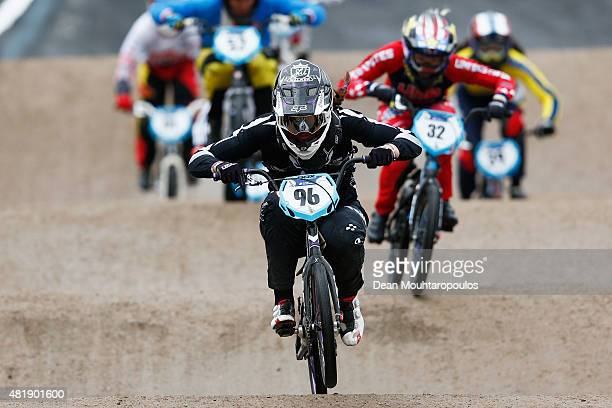 Sarah Walker of New Zealand competes in the Women Elite qualifying motos during day 5 of the UCI BMX World Championships at on July 25 2015 in Zolder...