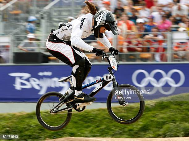 Sarah Walker of New Zealand competes in the Women's Seeding phase of the BMX competition at the Laoshan Bicycle Moto Cross Venue during Day 12 of the...
