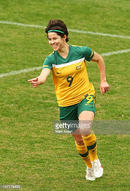 Sarah Walsh of the Matildas celebrates her goal during the women's international friendly match between the Australian Matildas and New Zealand at...
