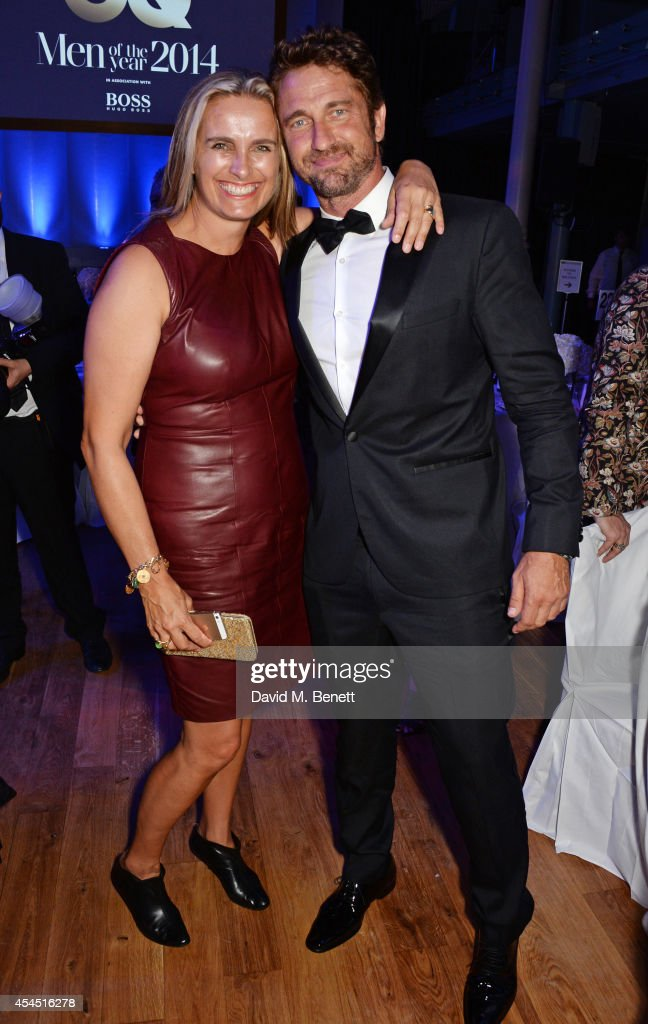 Sarah Walter (L) and Gerard Butler attend an after party following the GQ Men Of The Year awards in association with Hugo Boss at The Royal Opera House on September 2, 2014 in London, England.