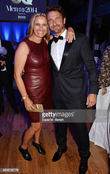 Sarah Walter and Gerard Butler attend an after party following the GQ Men Of The Year awards in association with Hugo Boss at The Royal Opera House...