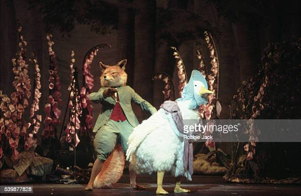 Sarah Walton as Jemima Puddleduck and Christopher Saunders as the foxy whiskered gentleman with the busy tail in the Royal Ballet's Tales of Beatrix...
