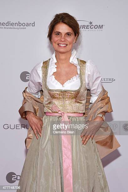 Sarah Wiener arrives for the German Film Award 2015 Lola at Messe Berlin on June 19 2015 in Berlin Germany