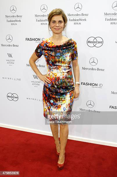 Sarah Wiener attends the Anja Gockel show during the MercedesBenz Fashion Week Berlin Spring/Summer 2016 at Brandenburg Gate on July 8 2015 in Berlin...