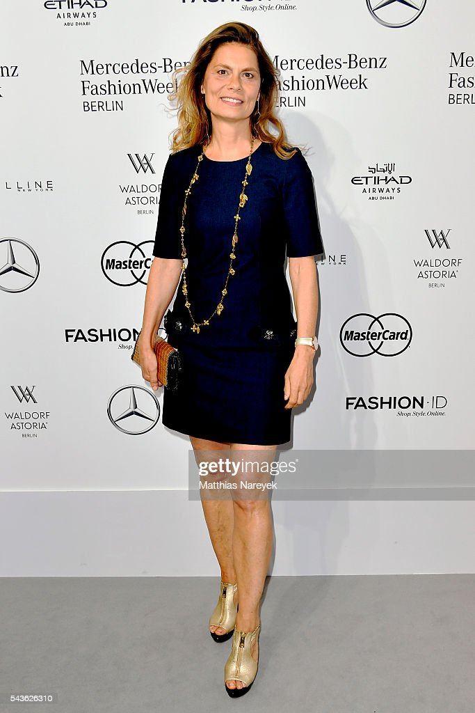Sarah Wiener attends the Guido Maria Kretschmer show during the Mercedes-Benz Fashion Week Berlin Spring/Summer 2017 at Erika Hess Eisstadion on June 29, 2016 in Berlin, Germany.
