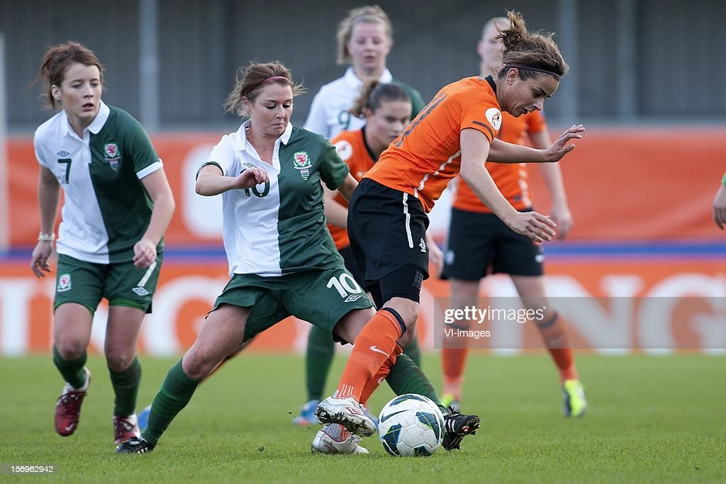 Sarah Wiltshire of Wales, Renée Slegers of Holland during the Women's international friendly match between Netherlands and Wales, at Tata steel stadium on November 25, 2012 in Velzen-Zuid, Netherlands.